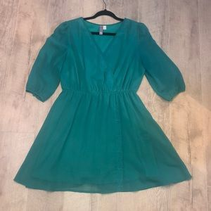 ALYA Teal Dress with Embroider Details